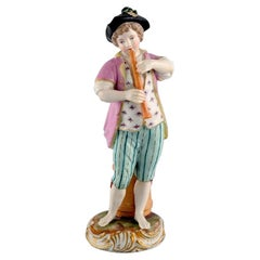 Antique Meissen Figure in Hand-Painted Porcelain, Boy Playing Flute, 1774-1814