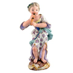 Meissen Figure in Hand Painted Porcelain, Girl Playing Flute, 19th Century