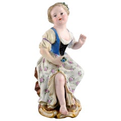Antique Meissen Figure in Hand Painted Porcelain, Girl with Flowers
