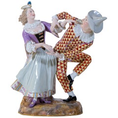 "Antique Meissen Group of Commedia Dell""arte, Harlequin and Columbine Dancing"