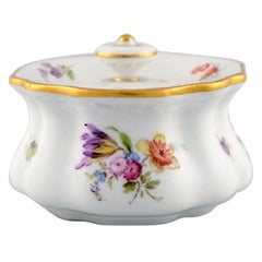 Meissen Inkwell in Hand Painted Porcelain with Floral Motifs, 19th Century