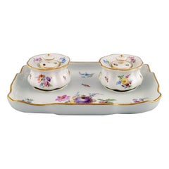 Antique Meissen inkwell set in hand-painted porcelain with floral motifs. 19th C
