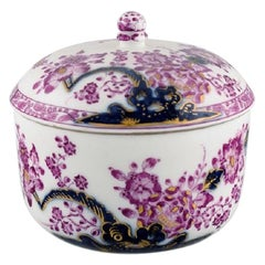 Antique Meissen Lidded Bowl in Hand-Painted Porcelain, Museum Quality