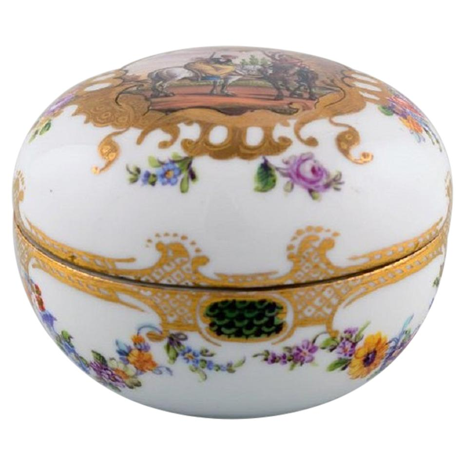 Antique Meissen Lidded Jar in Hand Painted Porcelain with Romantic Scene