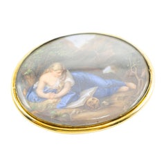 Antique Meissen Panel Miniature Painting by Magdalene Batons, circa 1860