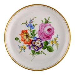 Antique Meissen Plate in Hand-Painted Porcelain with Floral Motifs