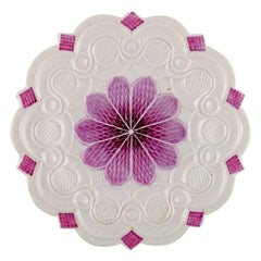 Antique Meissen Plate with Floral Motif and Purple Decoration, 19th Century