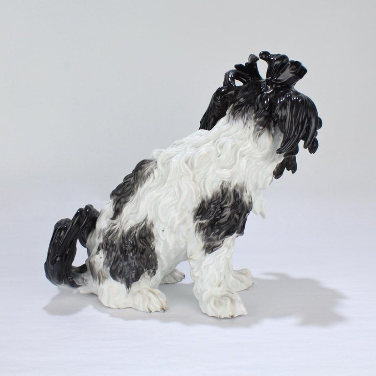 Antique Meissen Porcelain Bolognese Dog Figurine In Fair Condition For Sale In Philadelphia, PA