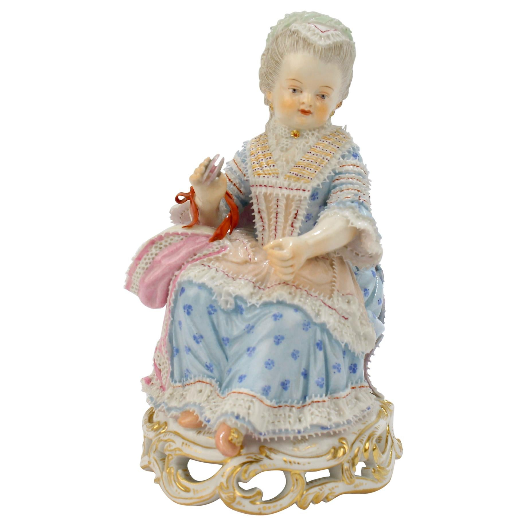 Antique Meissen Porcelain Figurine of a Girl with a Thread Winder Model No. C 28