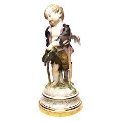 Antique Meissen Porcelain Figurine of Lame Cherub on Crutches, ca. 1880's