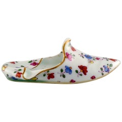 Meissen Slipper in Hand Painted Porcelain with Floral Motifs, 19th Century
