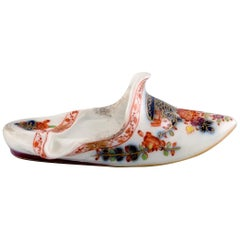 Antique Meissen Slipper in Hand Painted Porcelain with Floral Motifs