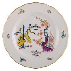 Antique Meissen Yellow Tiger Dinner Plate in Hand Painted Porcelain