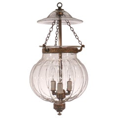Antique Melon Bell Jar Lantern from Belgium