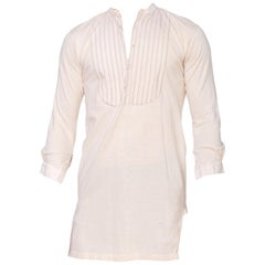 1900S Cream Cotton Jersey Rare Purple Stripe Bib Front Shirt Made In Germany