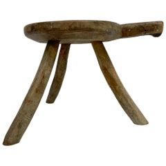 Antique Mesquite Wood Tripod Decorative Stool