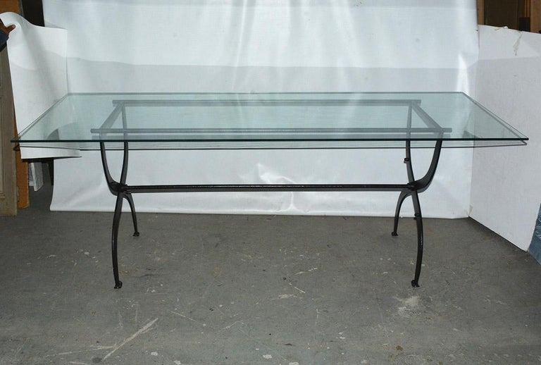 Industrial Antique Metal Base Garden Dining Table with Glass Top For Sale