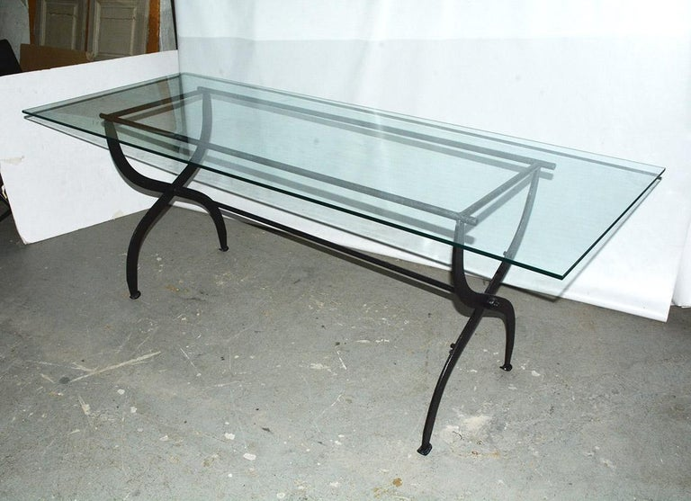 Dutch Antique Metal Base Garden Dining Table with Glass Top For Sale