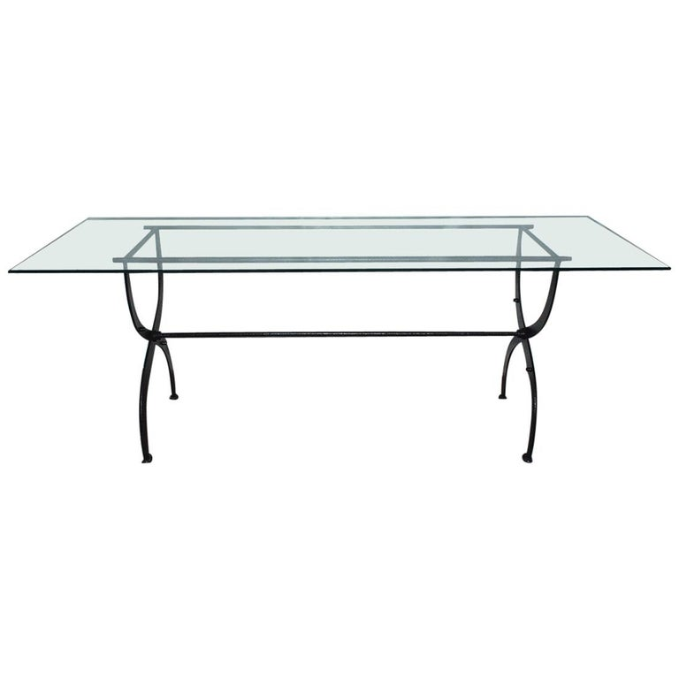 Antique Metal Base Garden Dining Table with Glass Top For Sale