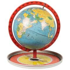 Antique Metal Replogle Travel Game Globe c.1950
