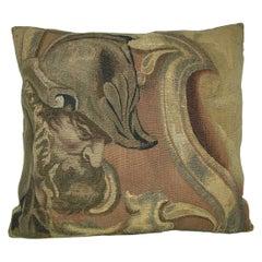 Antique Metallic Brussels Tapestry Pillow, circa 17th Century 1772p