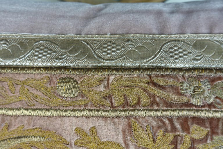 Other Antique Metallic Embroidered Textile Pillows, Pair For Sale