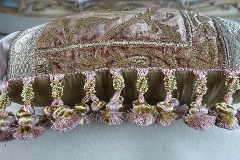 Unknown Antique Metallic Embroidered Textile Pillows, Pair For Sale