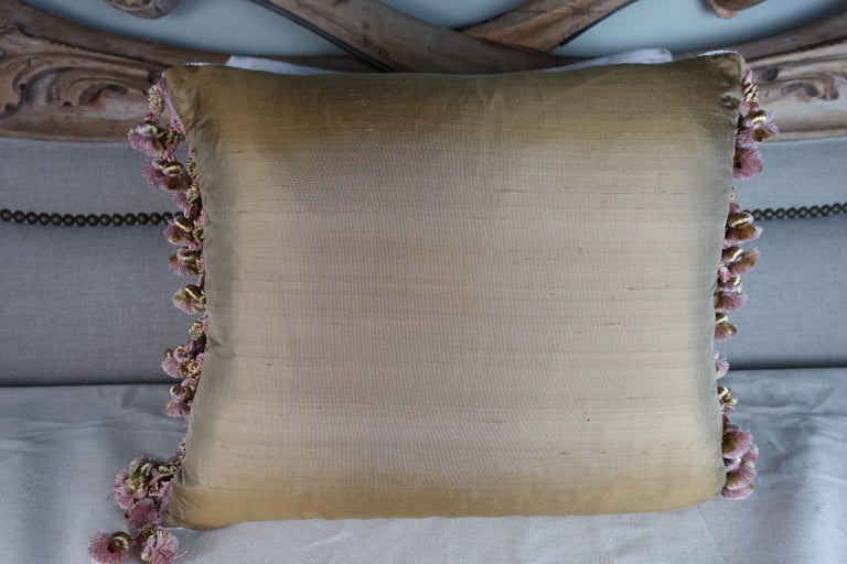 19th Century Antique Metallic Embroidered Textile Pillows, Pair For Sale