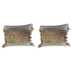 Antique Metallic Embroidered Textile Pillows, Pair