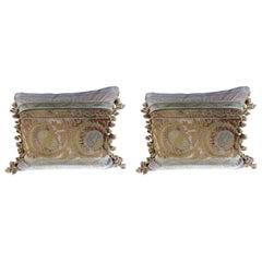 Antique Metallic Embroidered Textile Pillows, Pair