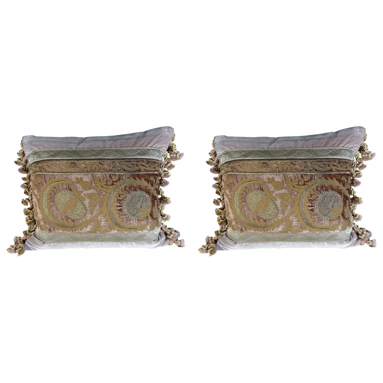 Antique Metallic Embroidered Textile Pillows, Pair For Sale