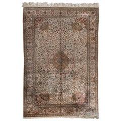 Antique Metallic Turkish Kaysari Silk Carpet, circa 1940s