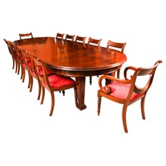 Antique Metamorphic Mahogany Jupe Dining Table & 12 Chairs, 19th C
