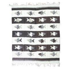 "Antique Mexica Blanket ""Fish"" Design"