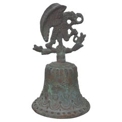 Antique Mexican Aztec Coat of Arms Bronze Bell Eagle Snake Cactus