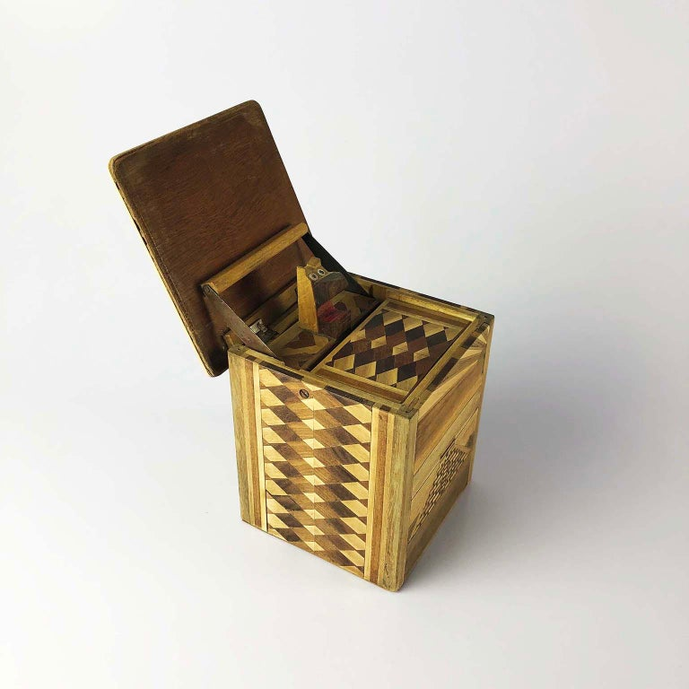 Marquetry Antique Mexican Cigarette Box Dispenser For Sale