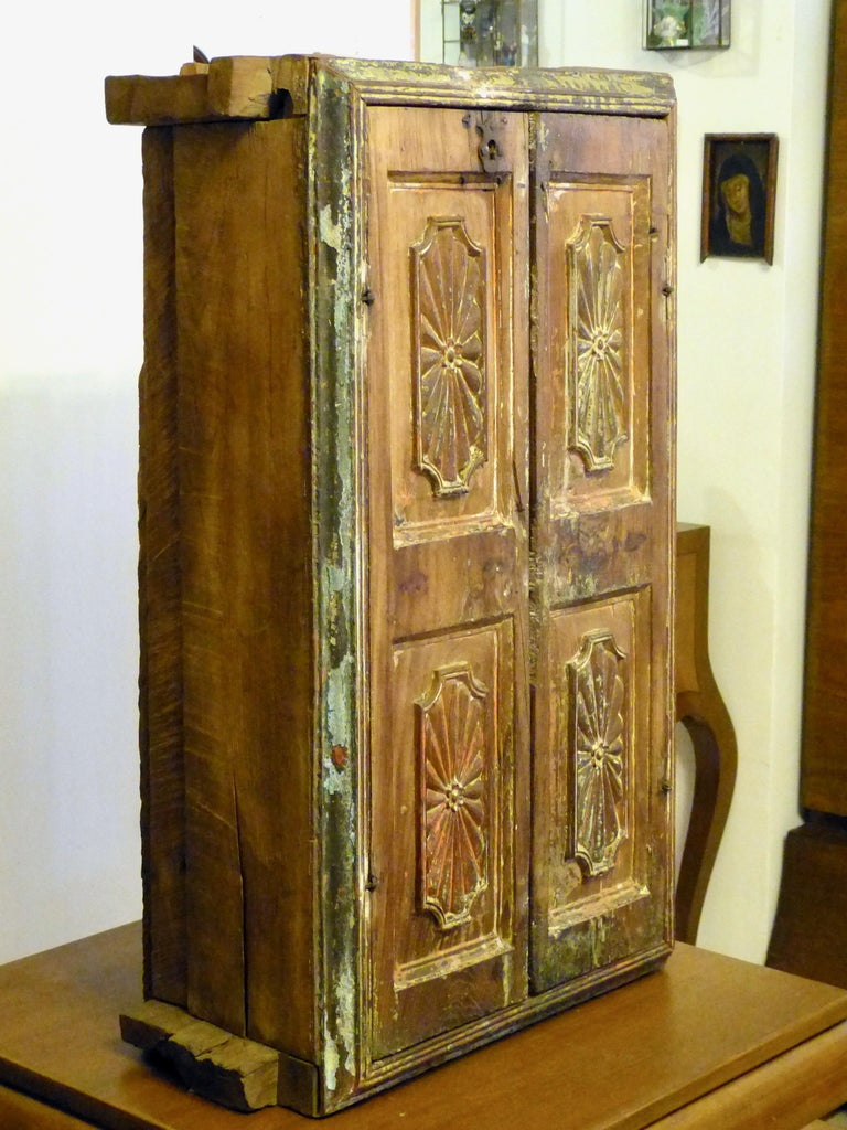 Antique Mexican Colonial Wood Wall Cabinet 18th Century Made in Puebla Mx