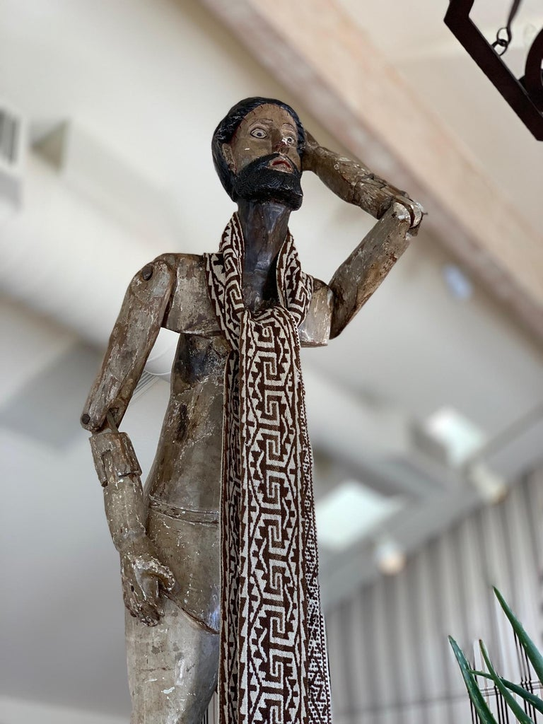 Exquisite example, life-size reticulated Jesus Santo. 18th century, Mexican. Hand-carved from pine wood, ghesso, and showing wonderful age and patina.