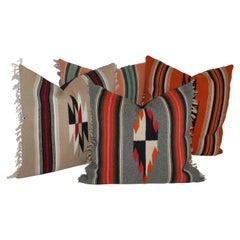 Antique Mexican Weaving, Serape Pillows, Collection of Four