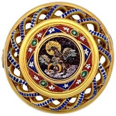 Antique Micro Mosaic Brooch Vatican 18 Karat Halo Eagle Holding a Ring