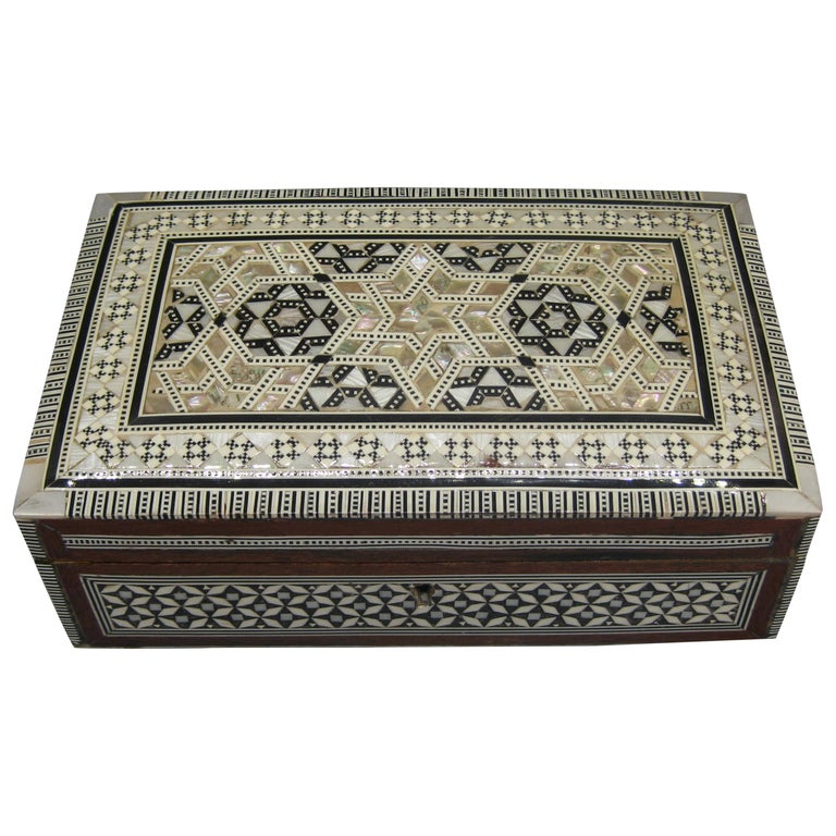 Antique Micro Mosaic Marquetry Mother of Pearl Inlay Wooden Jewelry Trinket Box For Sale