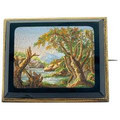 Antique Micromosaic Landscape Brooch
