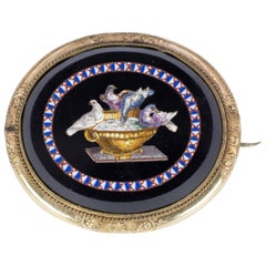 Antique Micromosaic, Onyx and Pinchbeck Brooch, Mid-19th Century