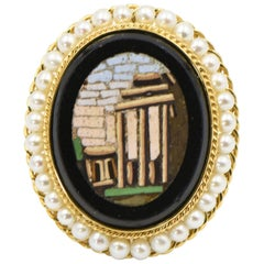 Antique Micromosaic Roman Architecture Scene Pearl and Gold Ring