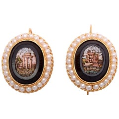 Antique Micromosaic Roman Architecture Scenes Pearl and Gold Earrings