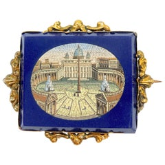 Antique Micromosaic St. Peter's Square Brooch
