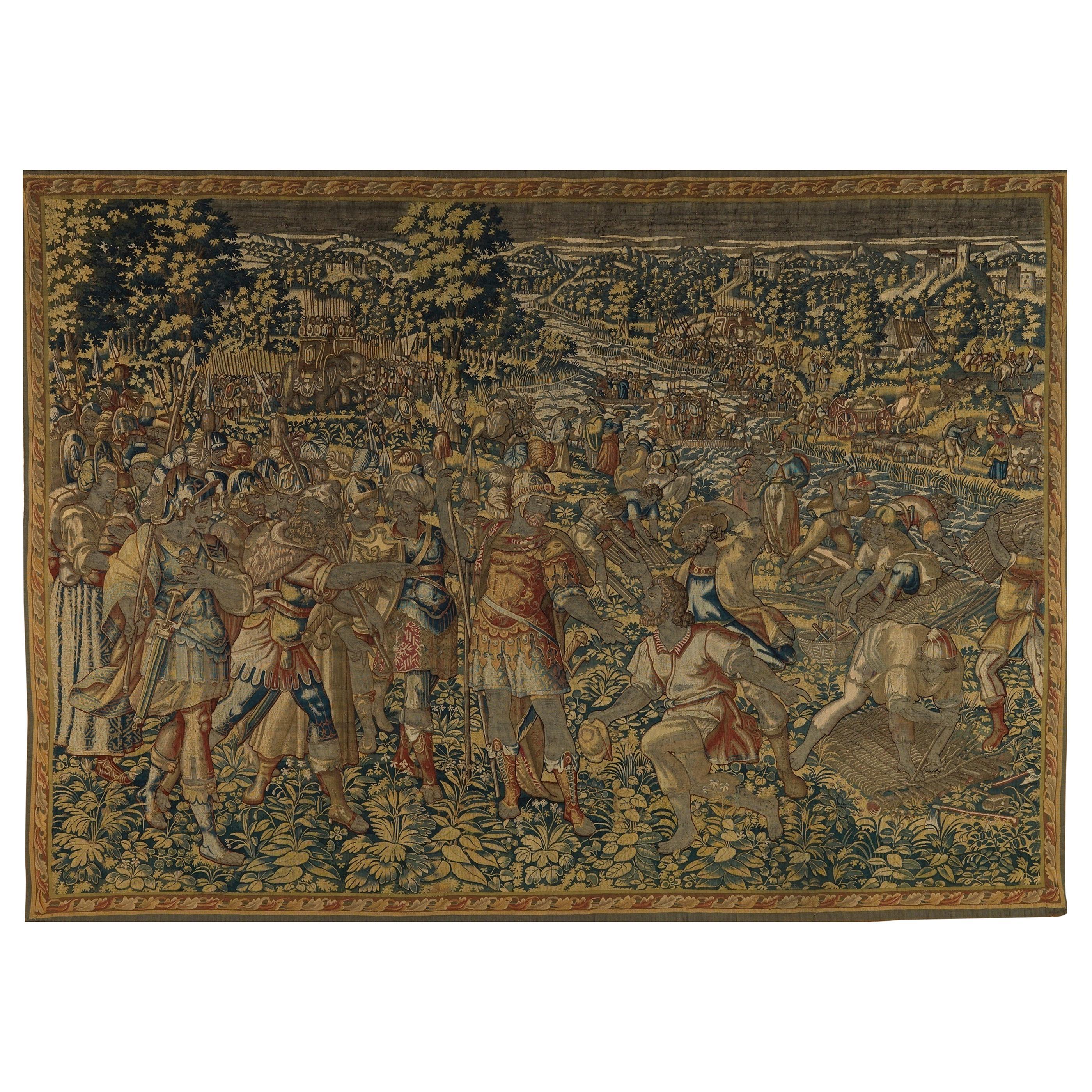 Antique Mid-16th Century Historical Flemish Renaissance Tapestry