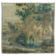 Mid-18th Century Square Century French Aubusson Green Landscape Tapestry