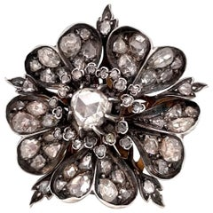 Antique Mid 19th Century 1.08 Carat Rose Cut Diamond Flower Brooch Pendant