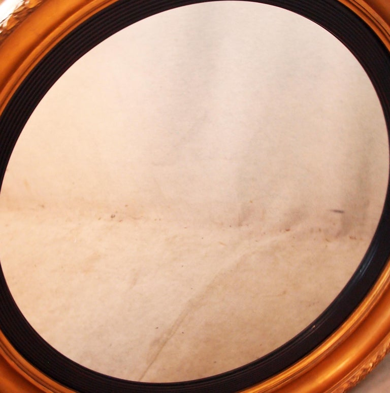 Victorian Large 19th Century English Circular Gilt Mirror For Sale